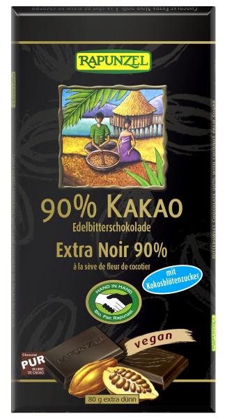 Bitterschokolade 90% Kakao mit Kokosblütenzucker