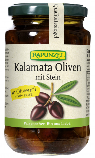 Oliven Kalamata violett, mit Stein in Olivenöl