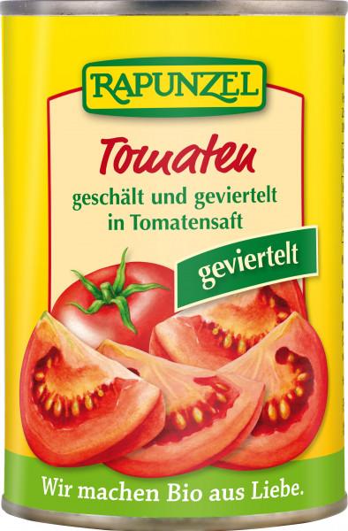Tomaten geschält und geviertelt in der Dose