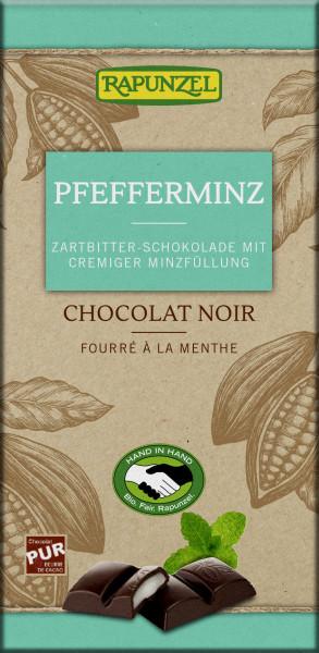 Zartbitter Schokolade mit Pfefferminzfüllung
