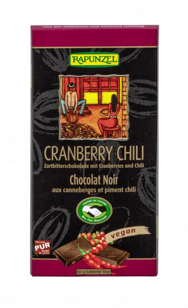 Zartbitter Schokolade mit Cranberries und Chili