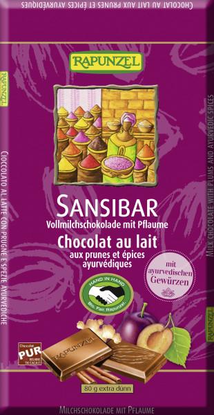 Vollmilch-Schokolade Sansibar mit Pflaumen und ayurvedischen Gew