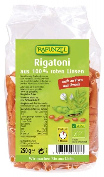 Rote Linsen Rigatoni