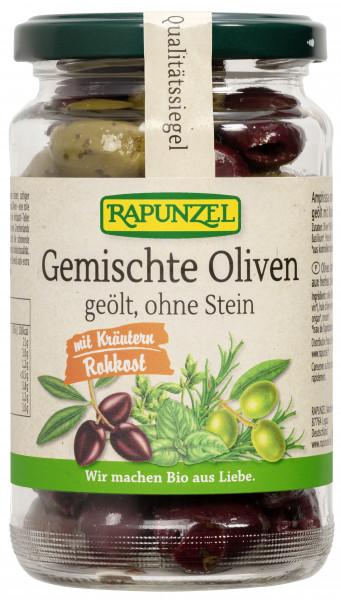 Gemischte Oliven mit Kräutern, ohne Stein geölt